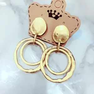 Gold Tone Circle Earrings